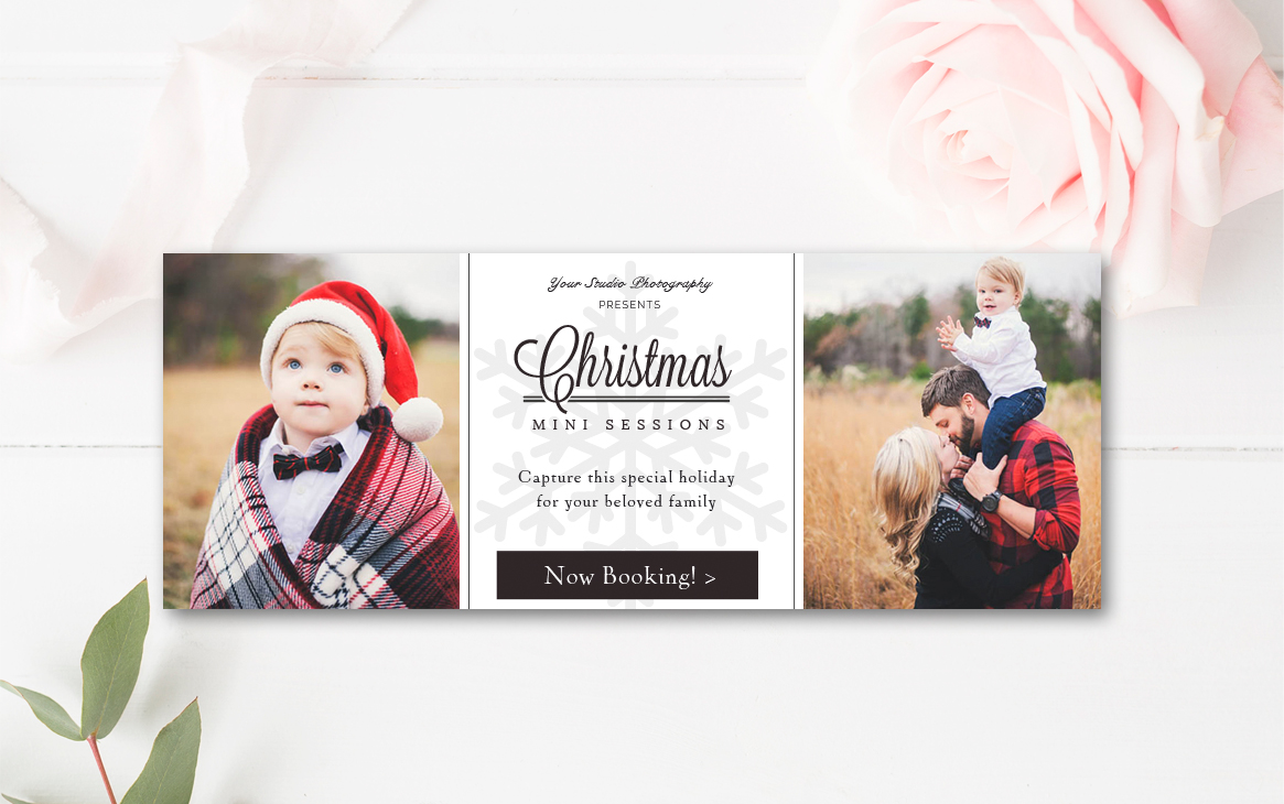 Christmas Mini Session Facebook Timeline - Photoshop Template \u2014 By