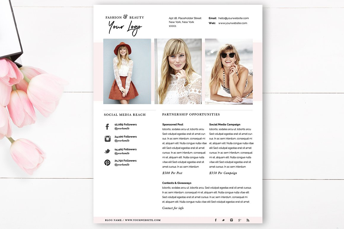 Media Kit Template 4 Page - Blogger Media Kit - Blog Media Press Kit