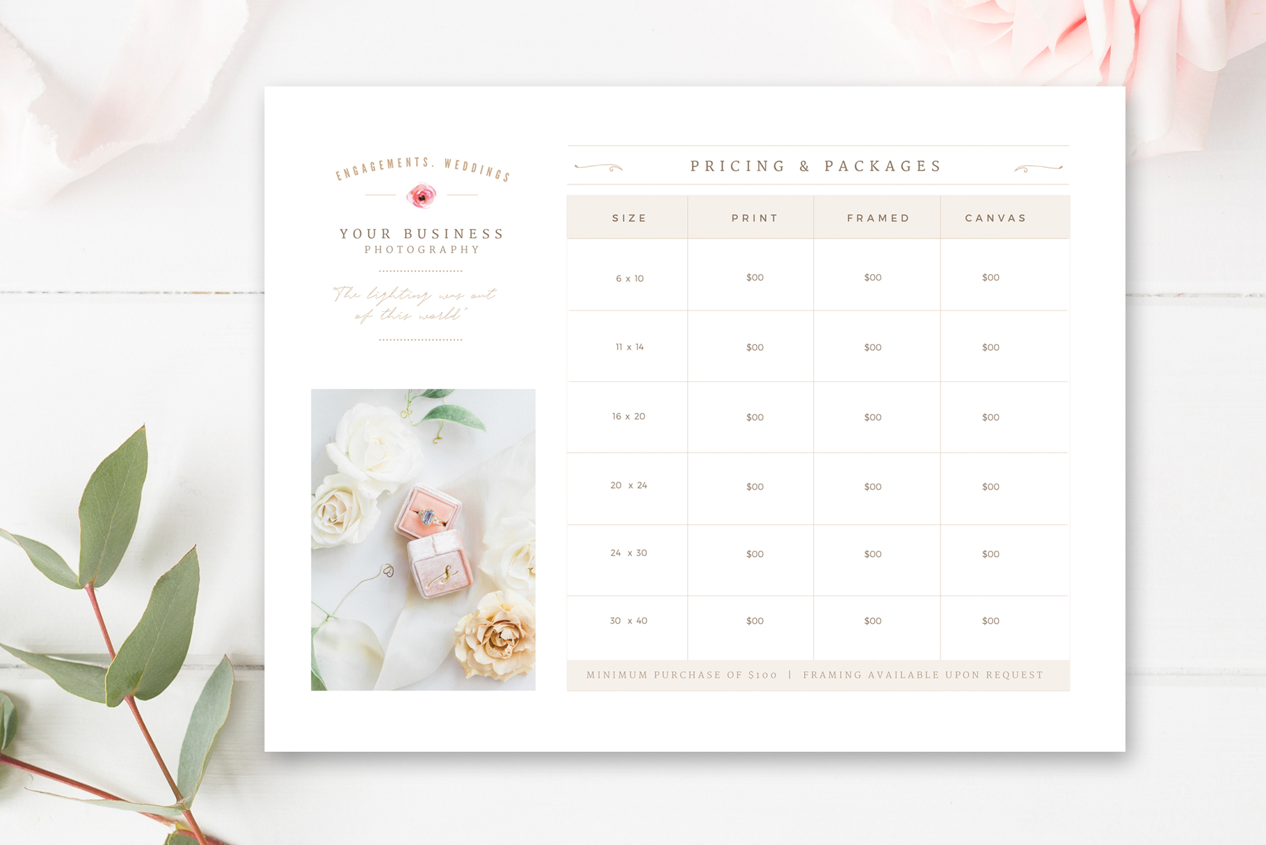 Price List Template for Wedding Photographer, Print Packages Pricing