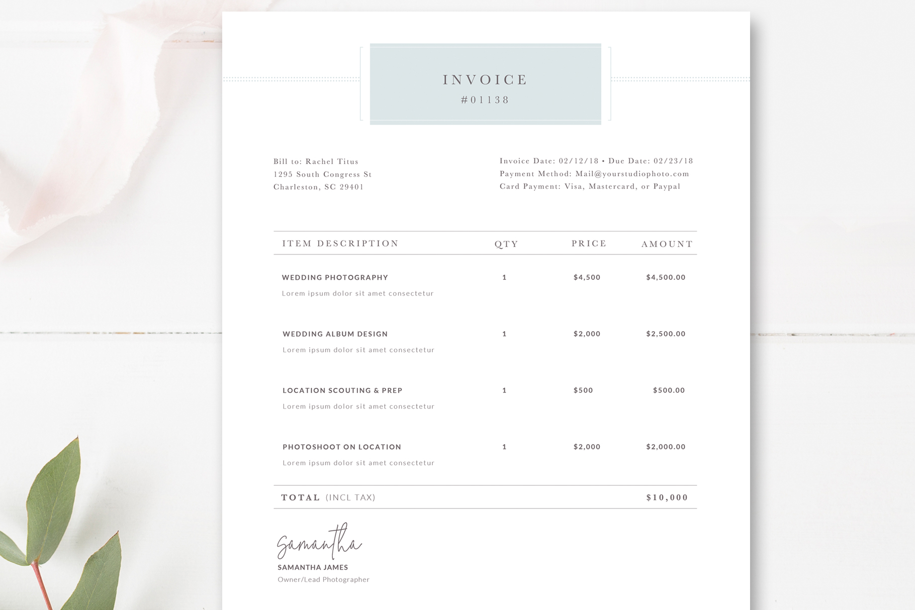 Photography Invoice Receipt Form for Photoshop, Photoshop Template