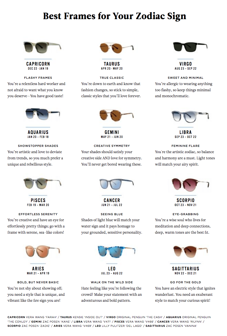 Zodiac Signs Sunnies For Your Zodiac Sign The Mirror