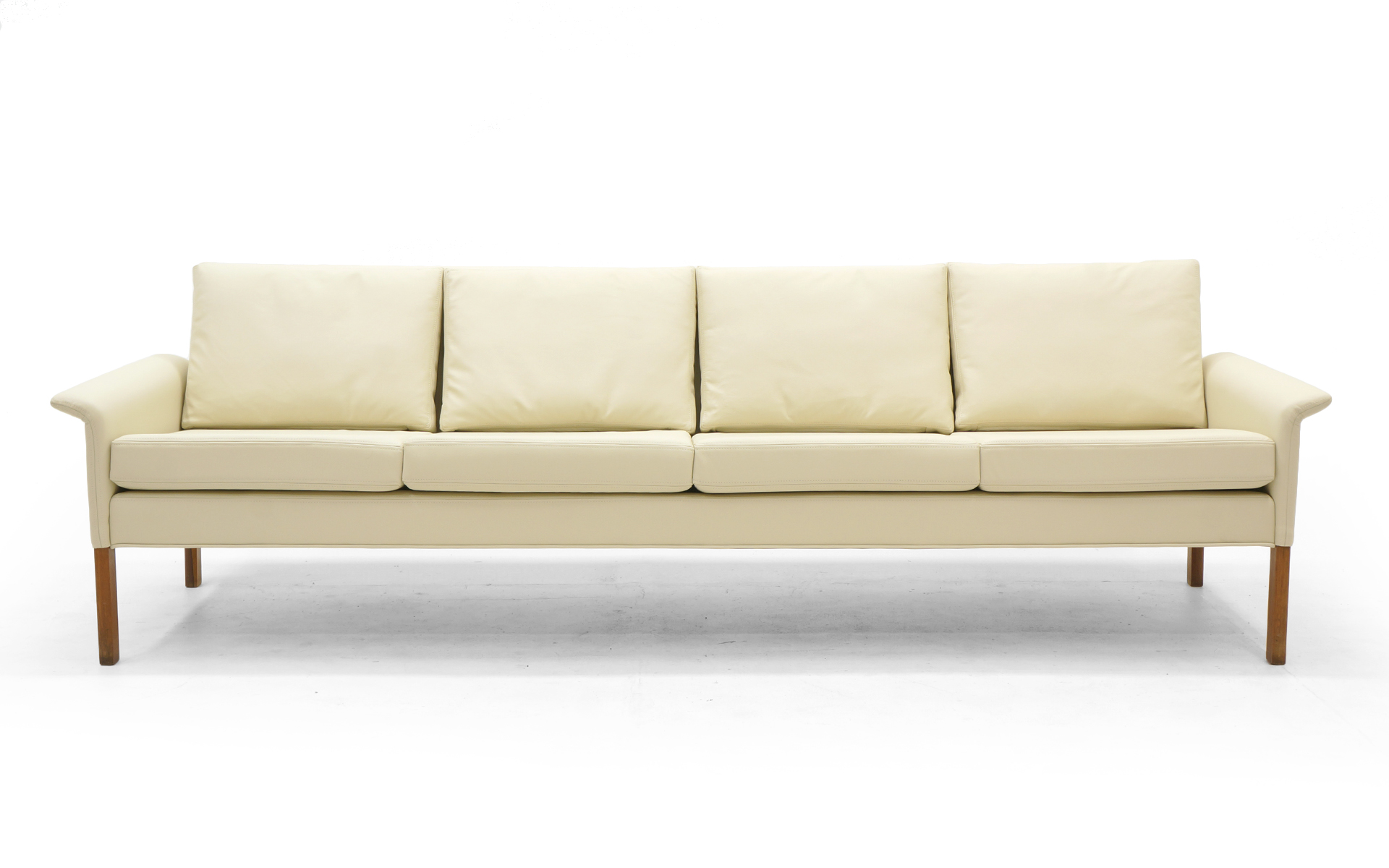 Retro Sofa Leather Four Seat Sofa By Hans Olsen White Ivory Leather With Rosewood Legs Perfect