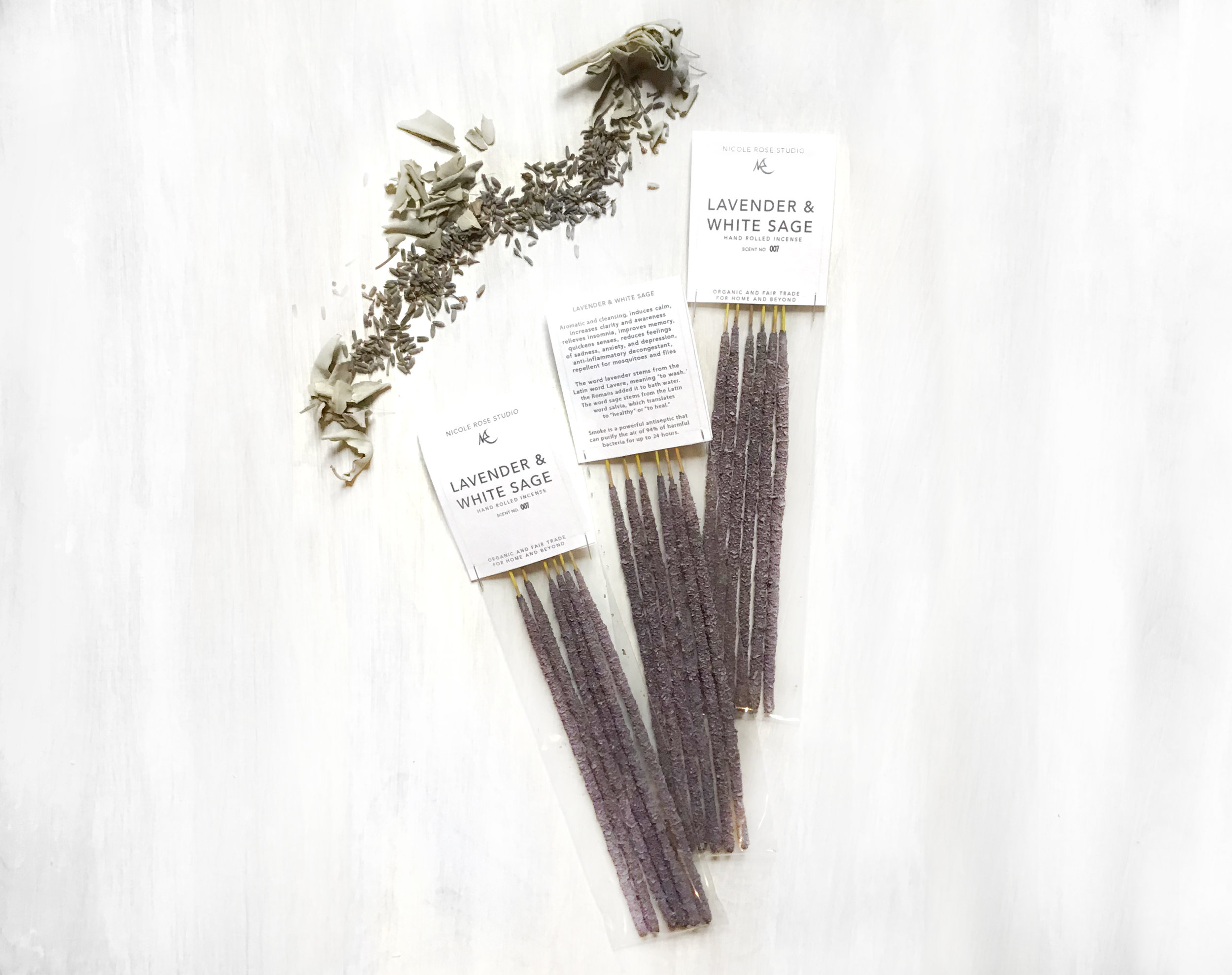 White Sage Paint Lavender White Sage Hand Rolled Incense