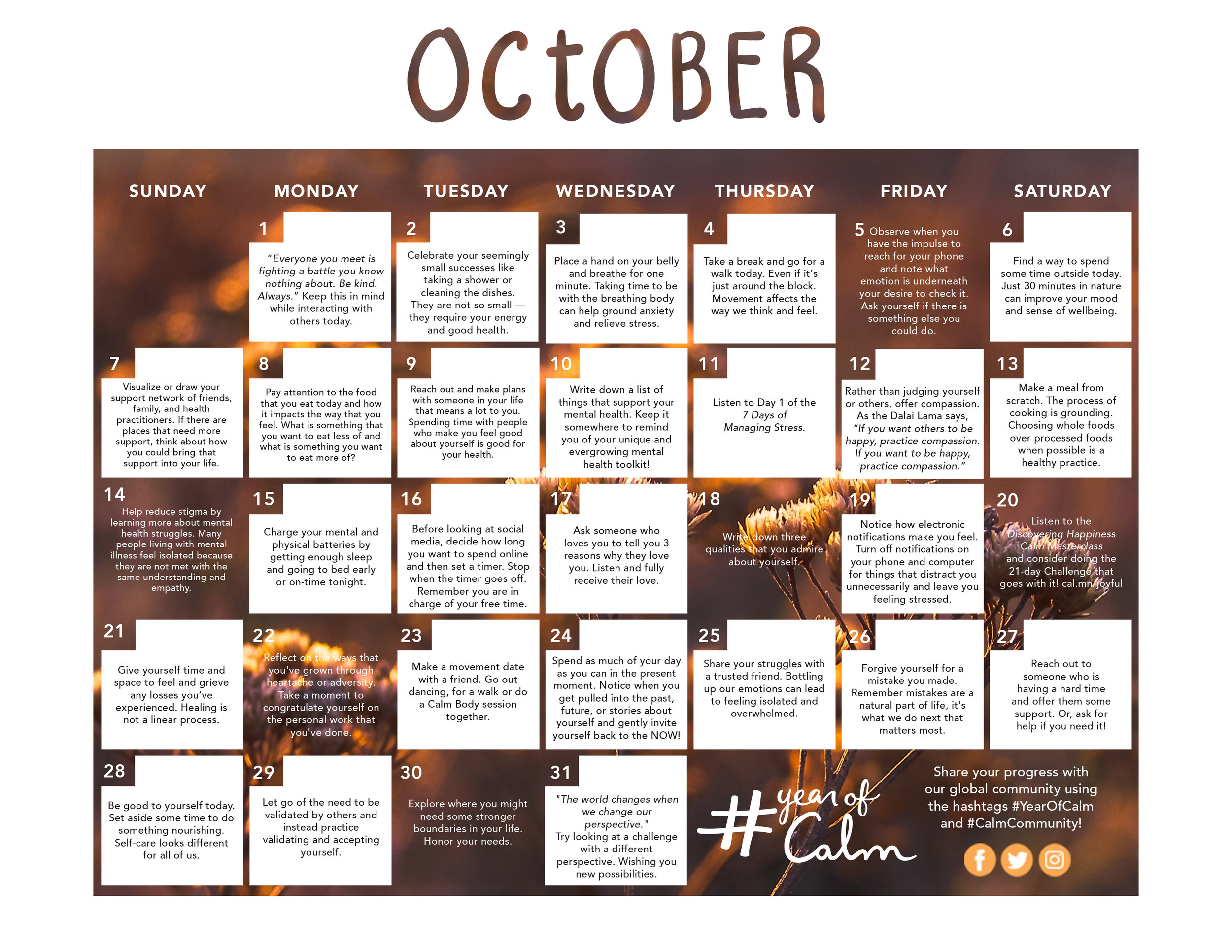 Take Care of Your Mental Health with October\u0027s Mindful Living
