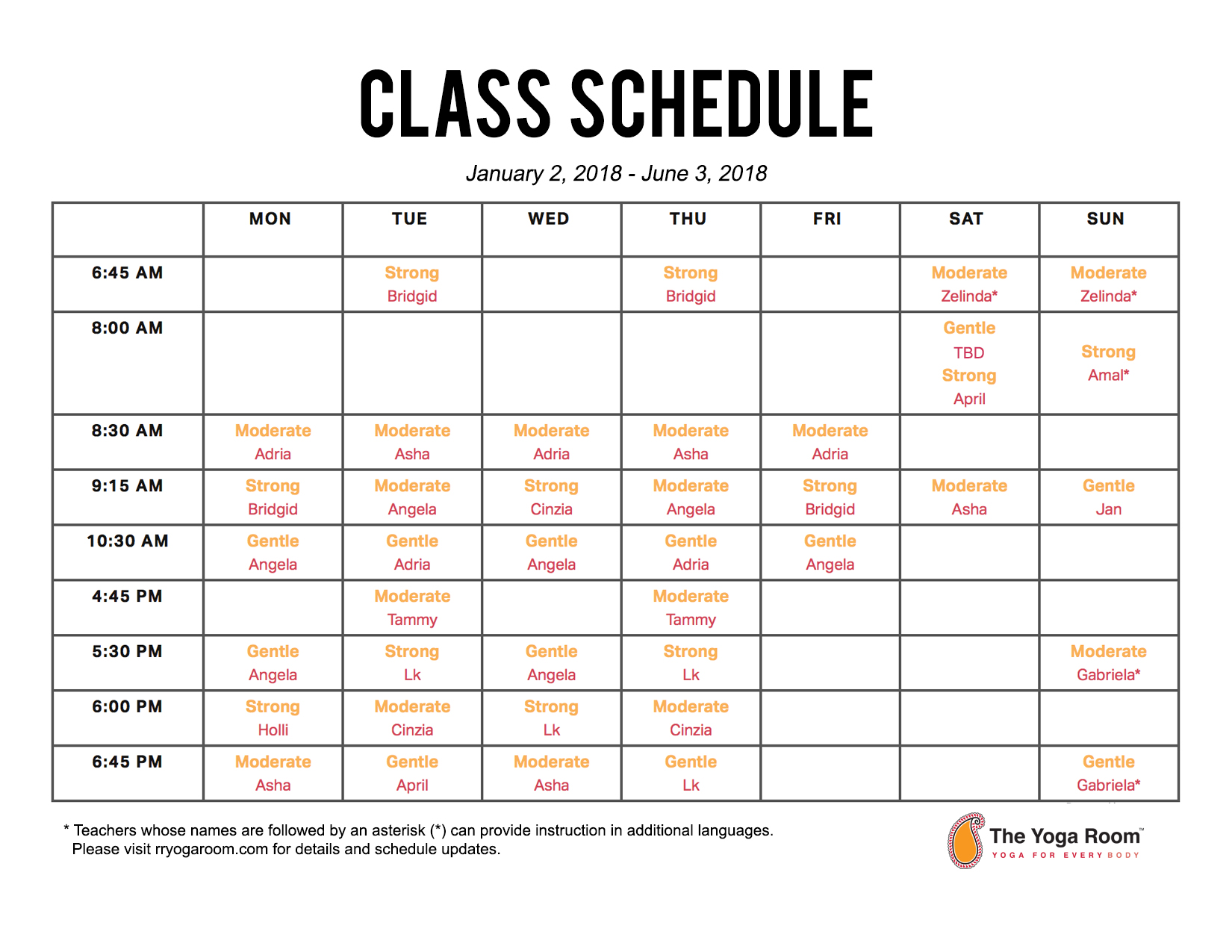 2018 Class Schedule! \u2014 The Yoga Room