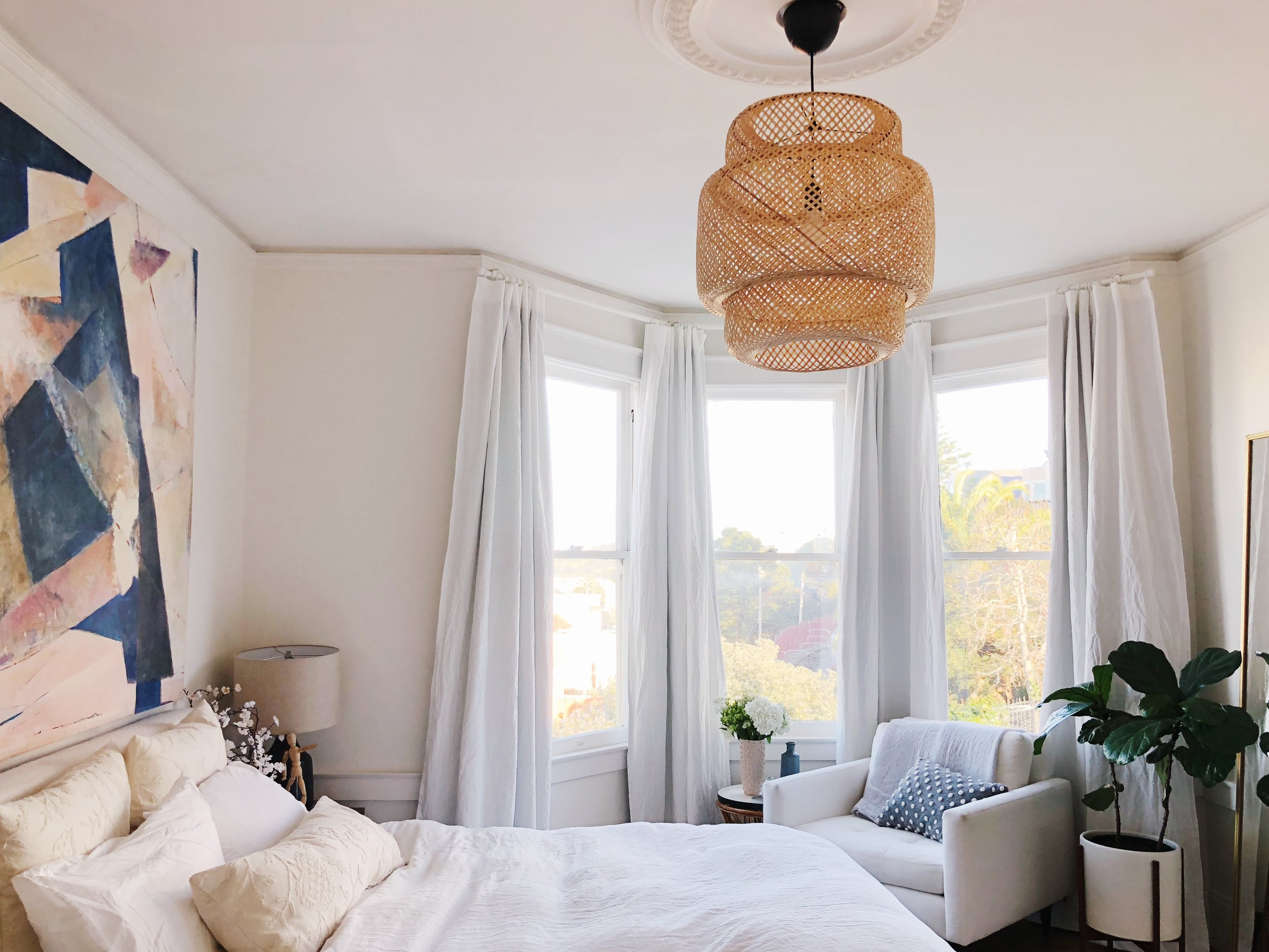 Hanging Curtains On Walls Without Windows How To Hang Blackout Curtains On A Bay Window Eliza Kern Design