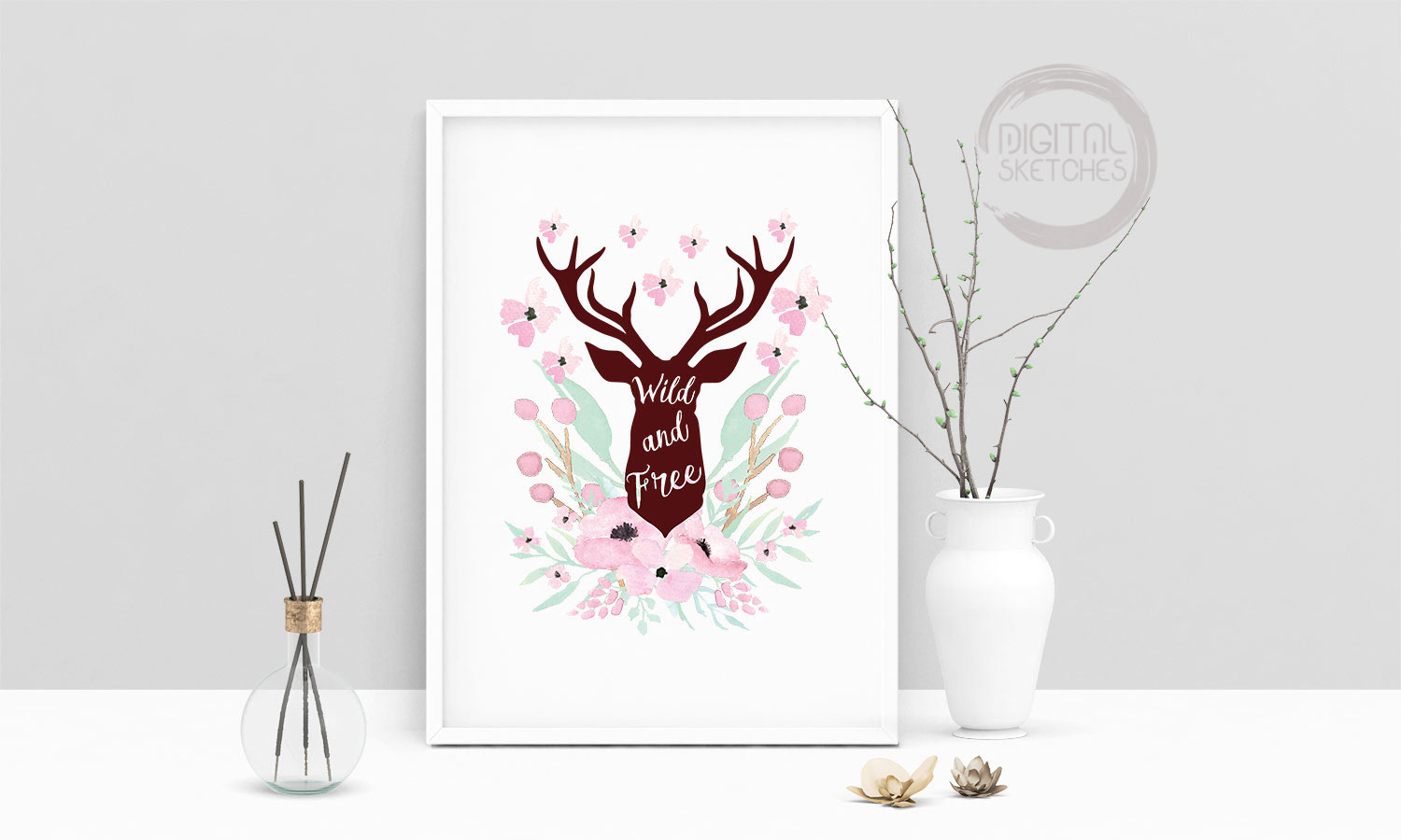 Digital Sketches \u2014 Printable Art Print Poster Wild And Free Deer