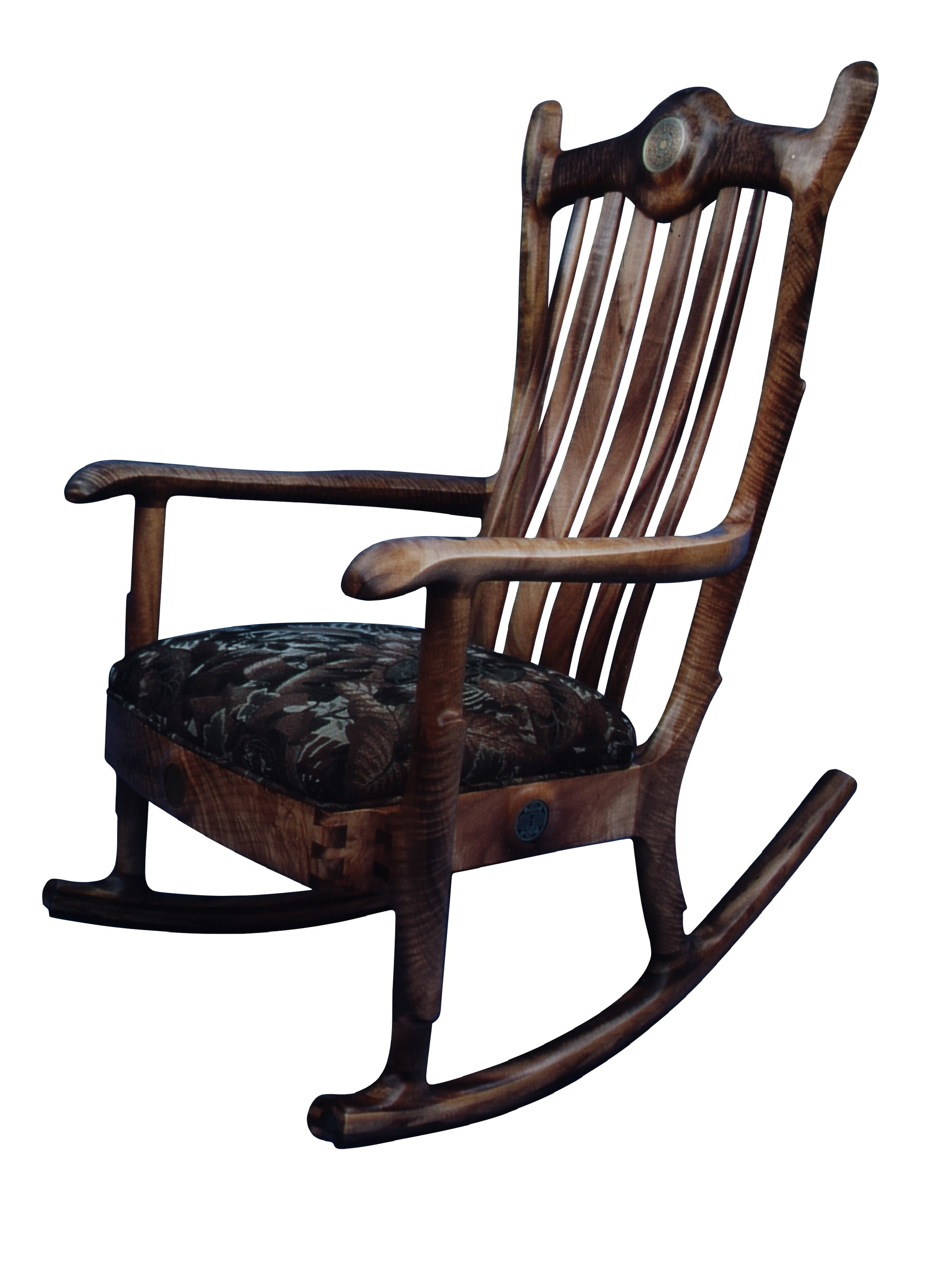 Wood Rocking Chair Custom Handmade Myrtle Wood Upholstered Seat Rocking Chair