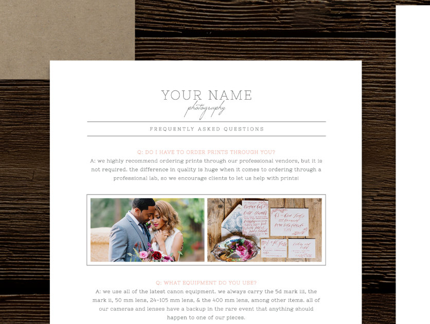 What to Wear  FAQ Template for Wedding Photographers - Cambria