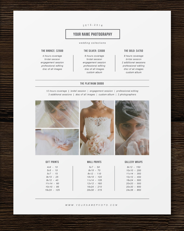 Price List Template - Photographer Pricing Guide - Wedding Price List