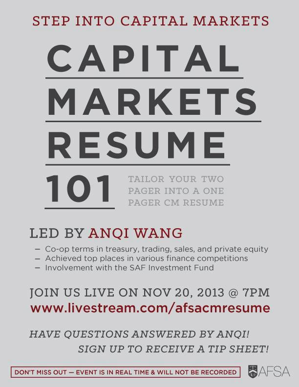 Capital Markets Resume 101 \u2014 Accounting  Finance Student Association