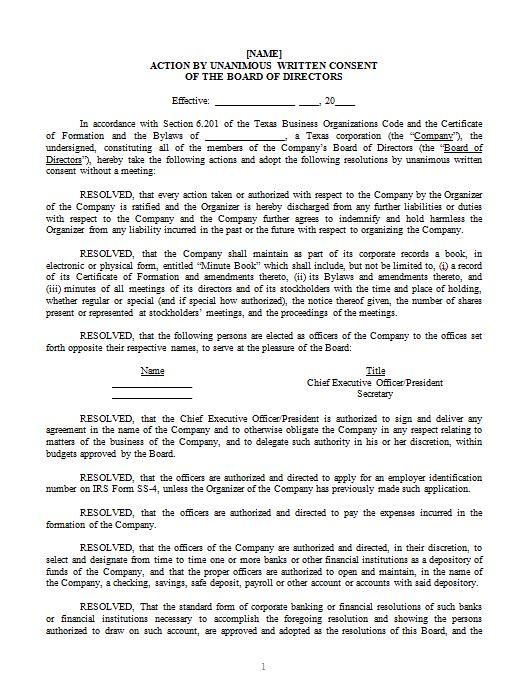 Corporate Organizational Documents u2014 James Howard - corporate resolution form