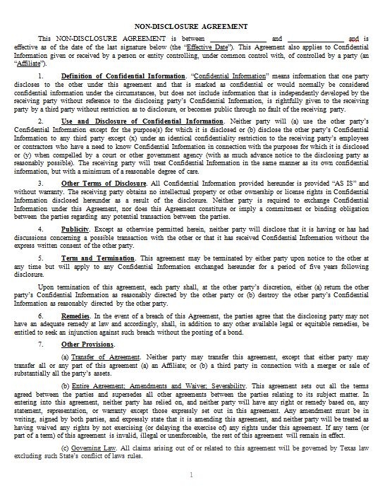 Non-Disclosure Agreements \u2014 James Howard - non disclosure agreement