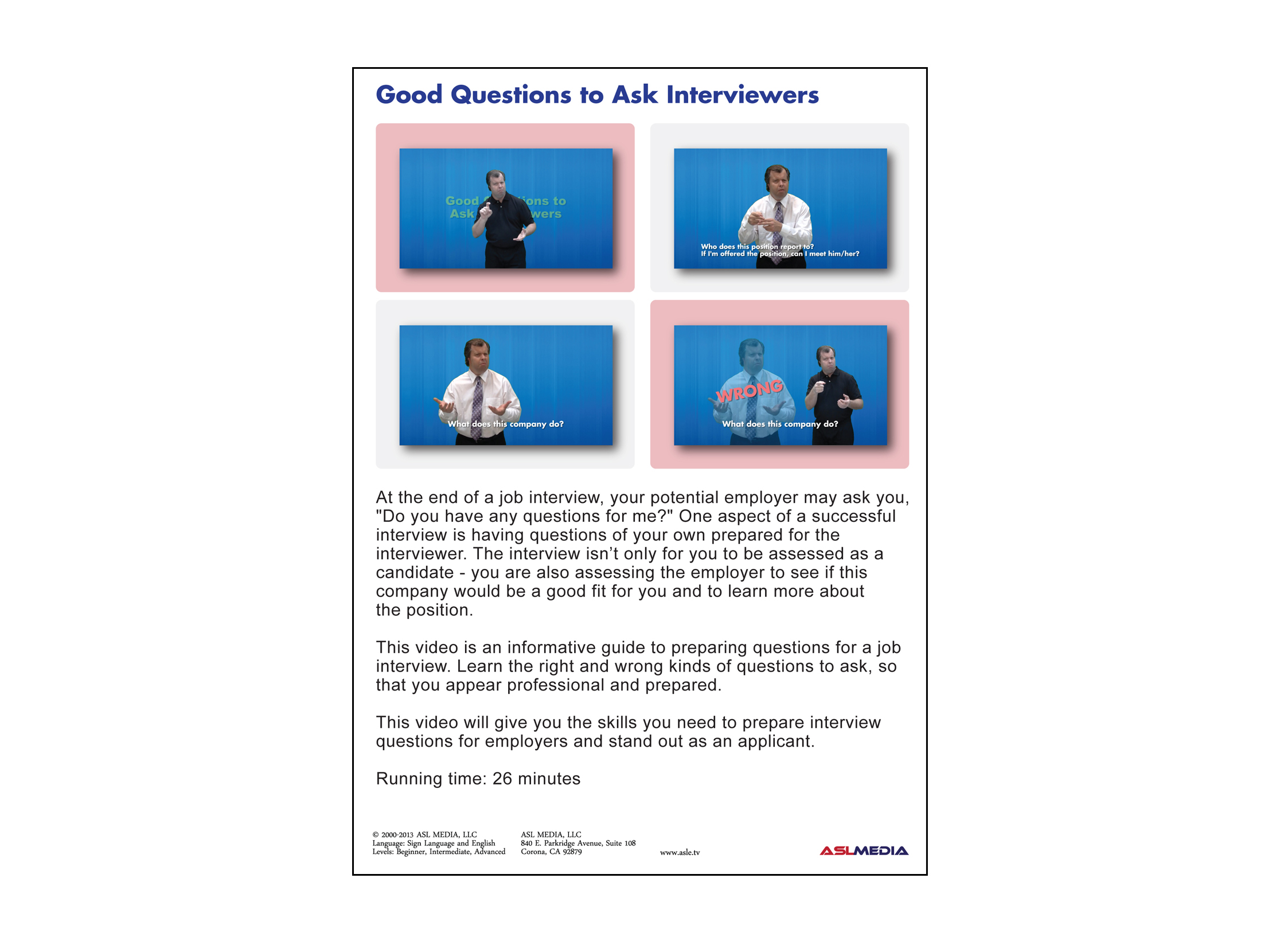 Job Success Good Questions to Ask Interviewers - DVD (First Version