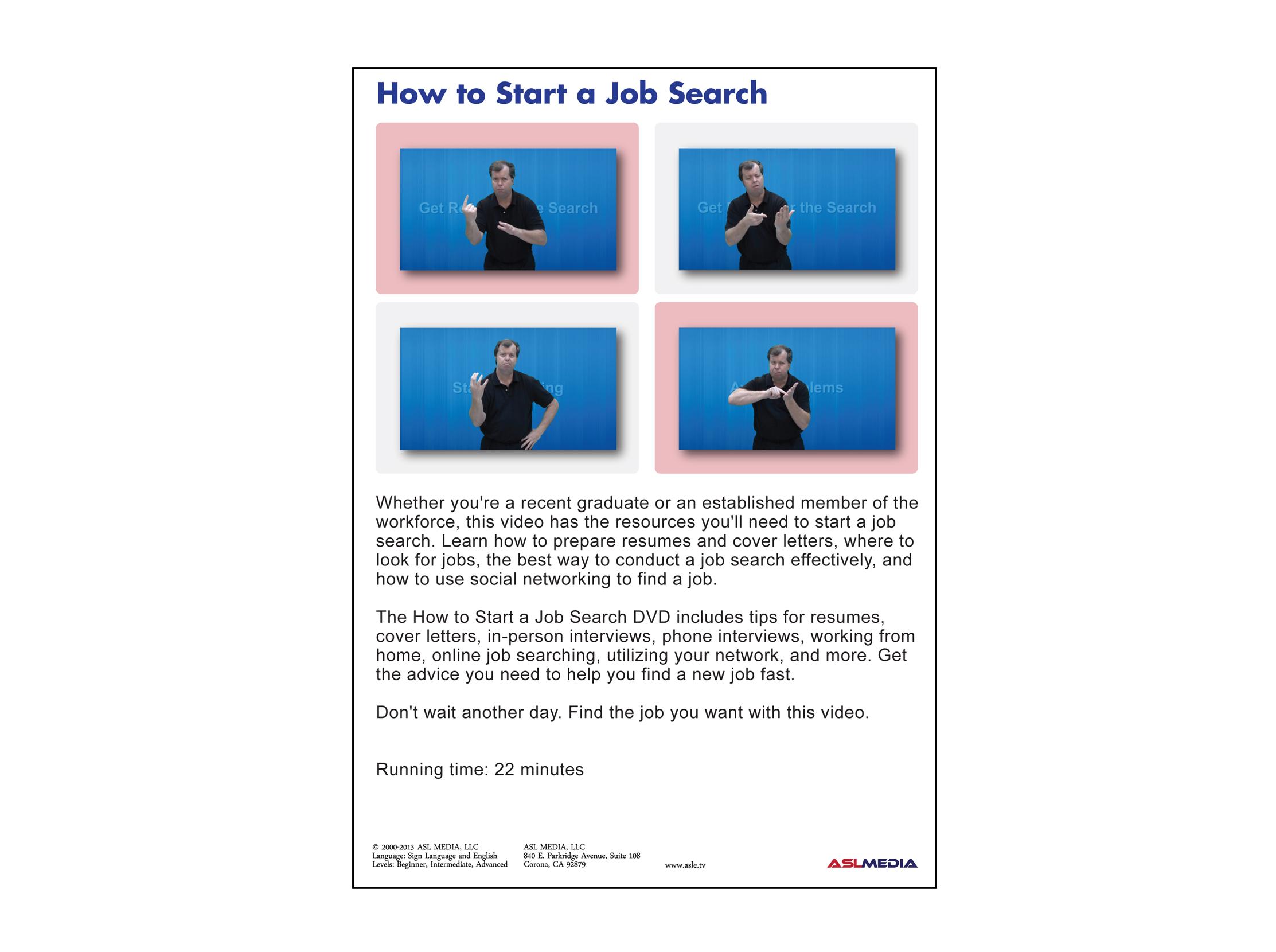Job Success How to Start a Job Search - DVD (First Version) \u2014 ASL MEDIA