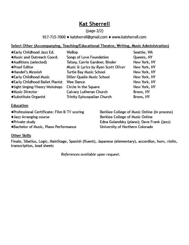 Resume \u2014 Kat Sherrell