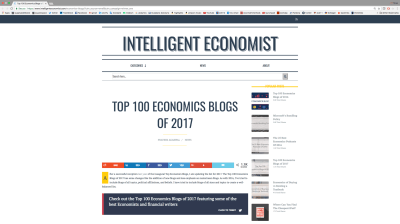 Intelligent Economist: Top 100 Economics Blogs of 2017 — Confessions of a Supply-Side Liberal
