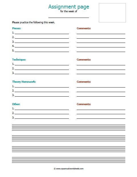 Piano Assignment Sheets Ashley Danyew - printable assignment sheet