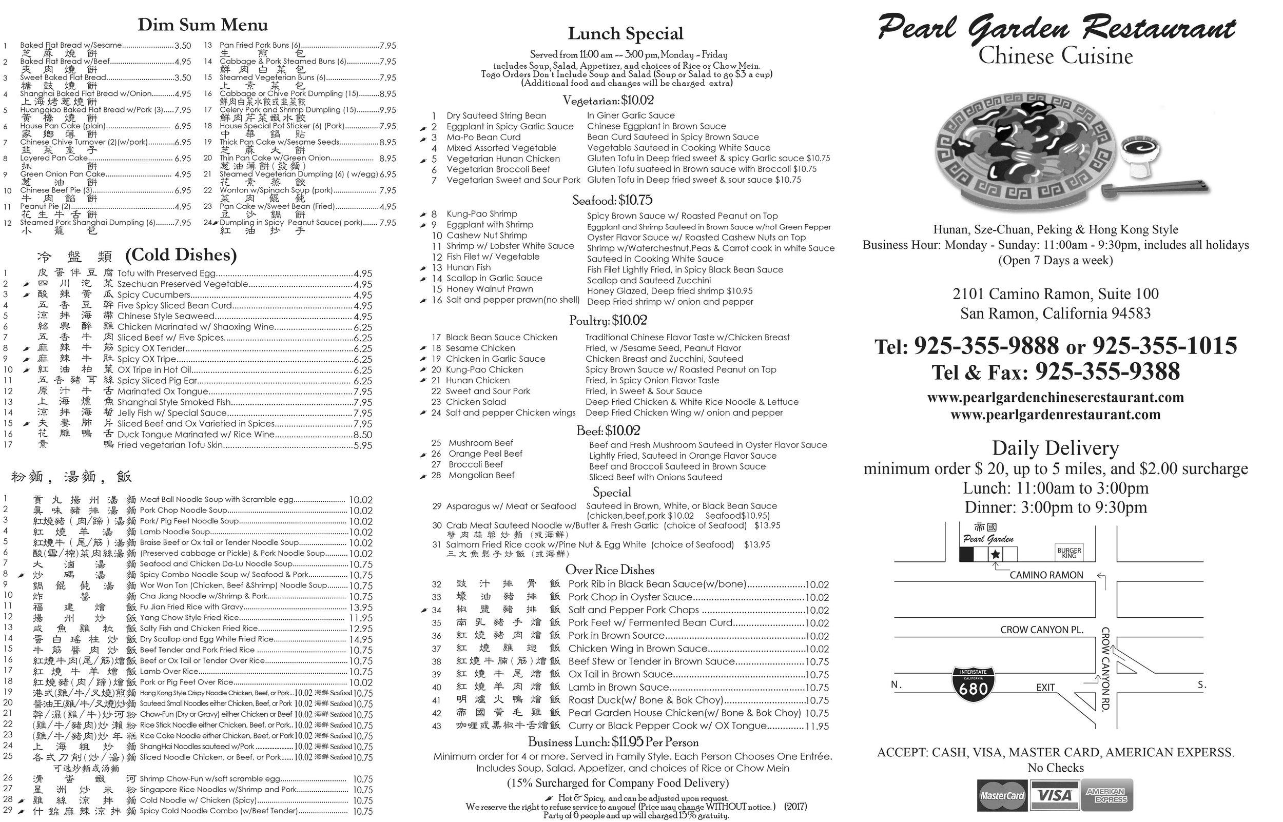 To-Go \u2014 Pearl Garden Restaurant - restaurant to go menu