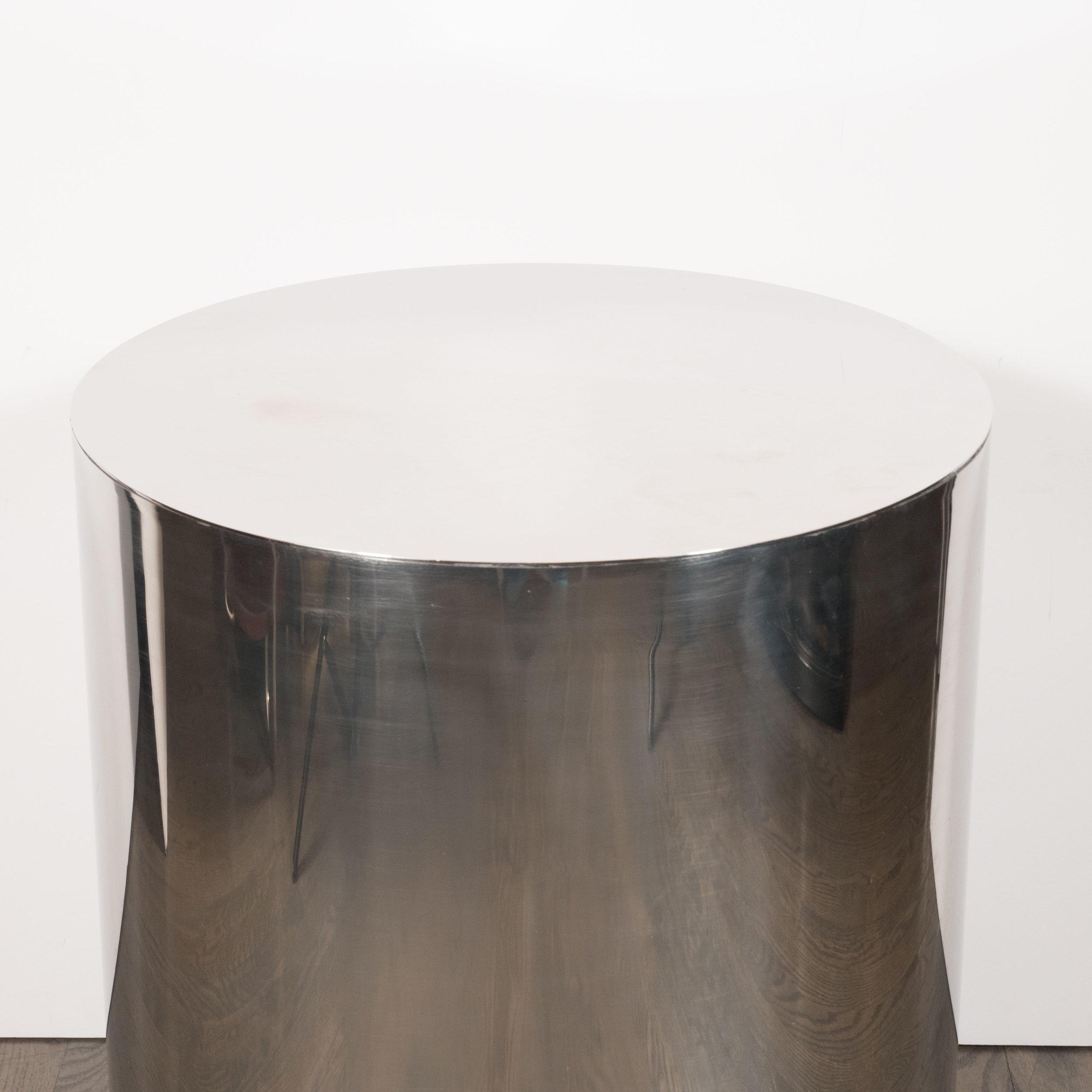 Objet Deco Chrome American Mid Century Modern Cylindrical Chrome Side Table Pedestal