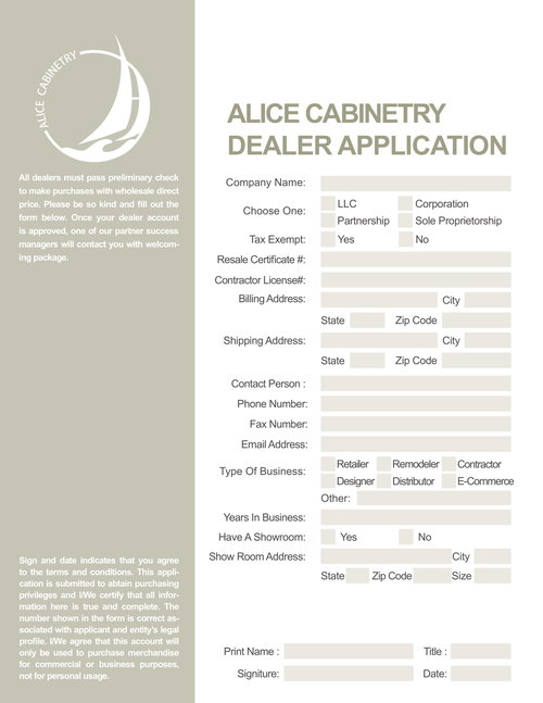 TWO STEP APPLICATION \u2014 Alice Cabinetry