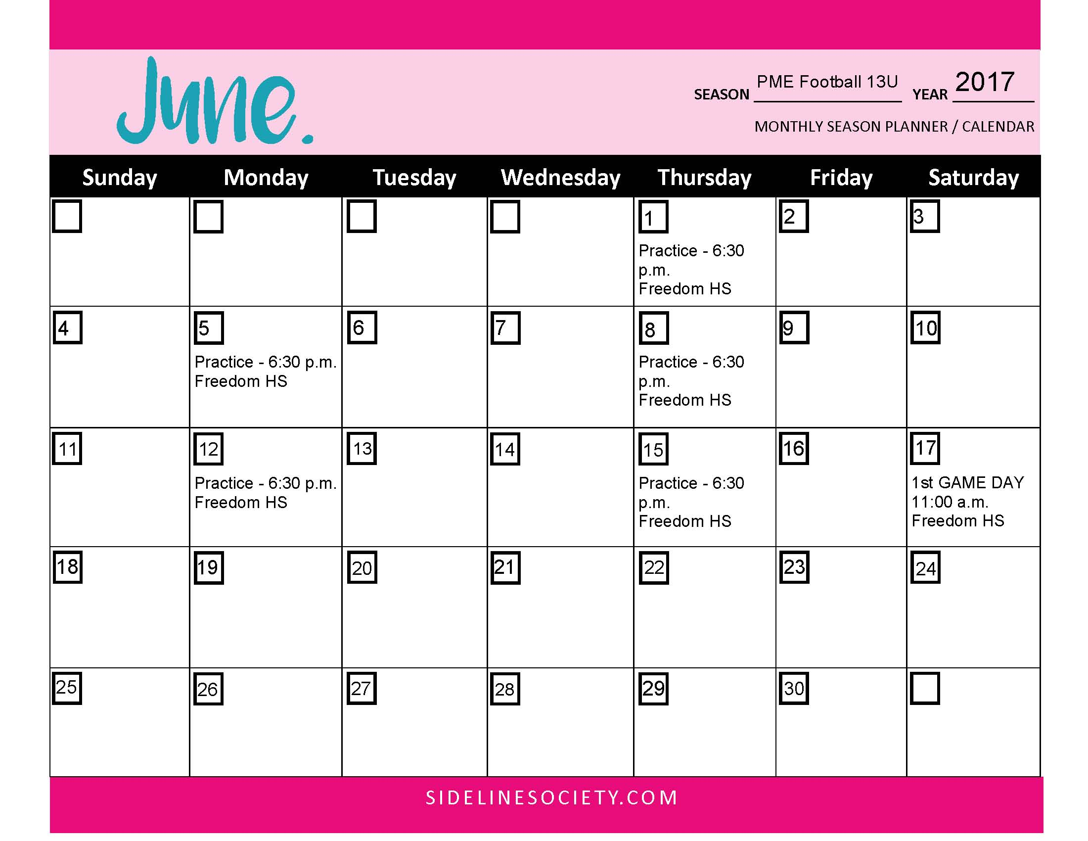 Organize Your Sideline Series 3 Easy Steps to Create Your Season - sample planning calendar
