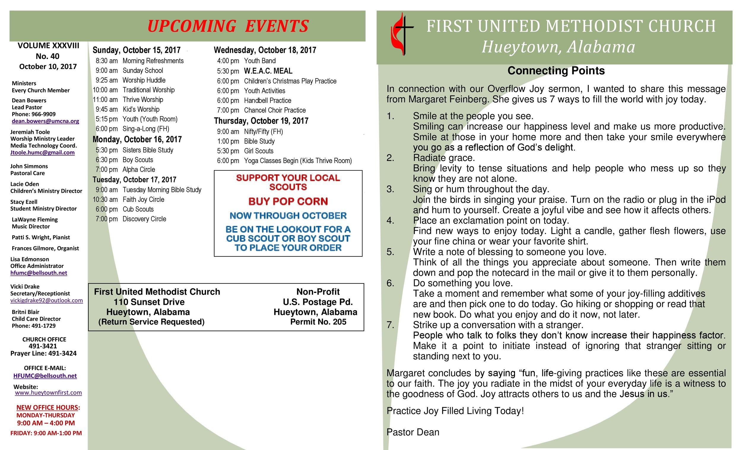 Newsletter \u2014 Hueytown First United Methodist CHurch - church newsletter