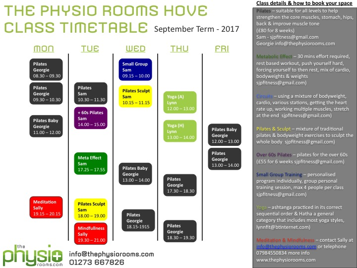 The Physio Rooms Hove - new class timetable available - The Physio Rooms
