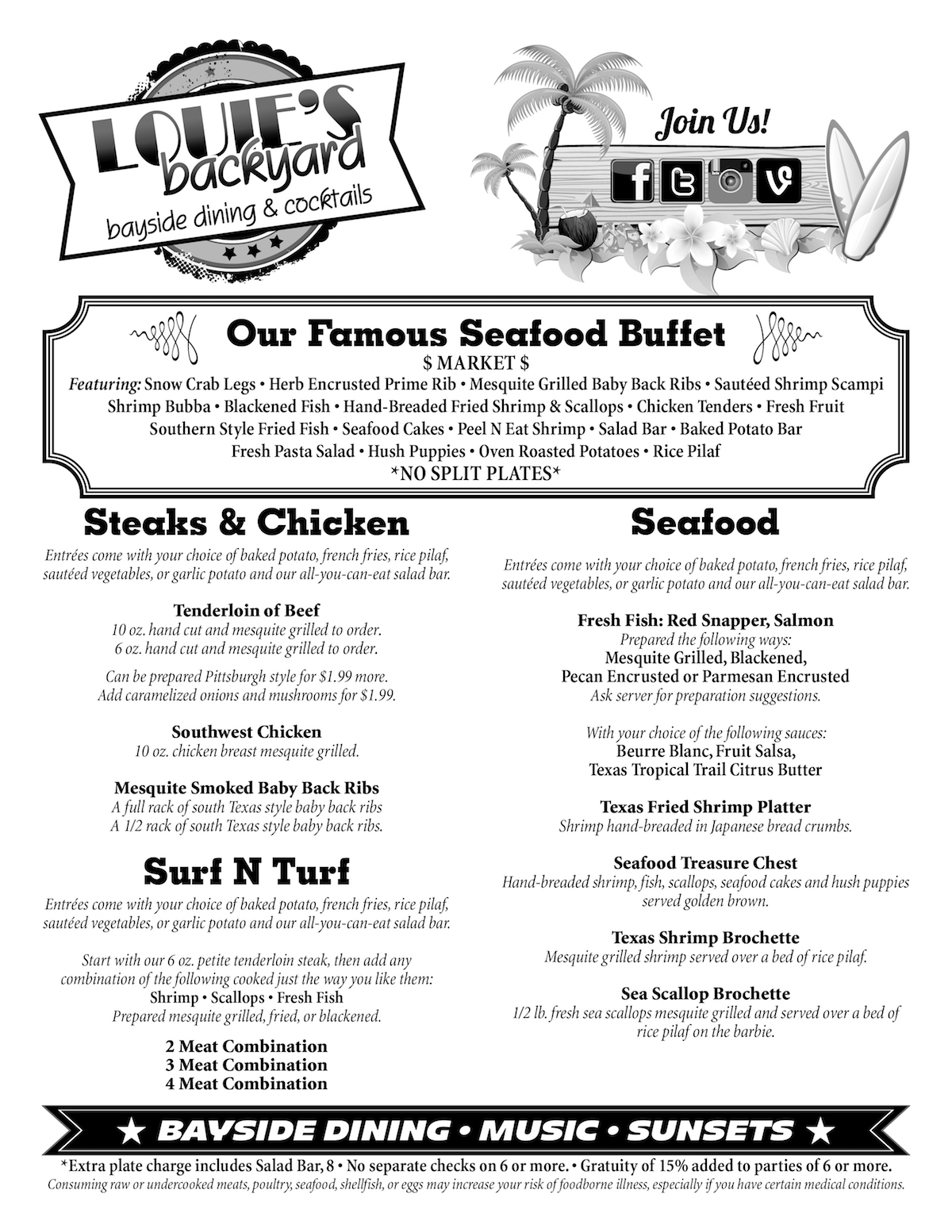 Dining Menu Bayside Dining Menu Louie S Backyard