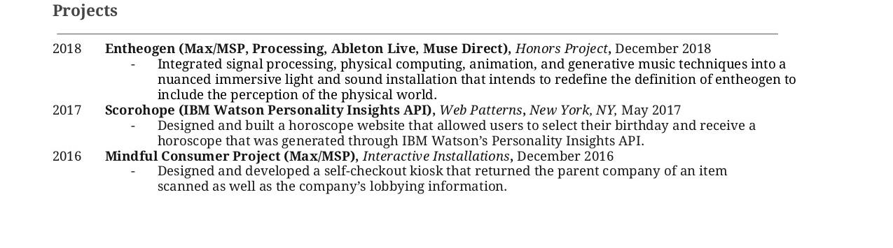 Sample Resume/CV \u2014 Alessandra Vertrees