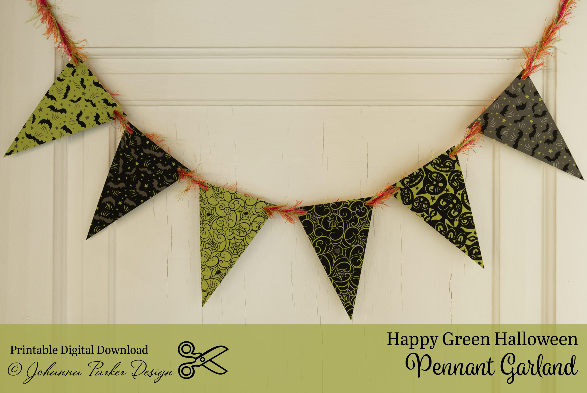 Happy Green Halloween Pennant Garland \u2014 Johanna Parker Design