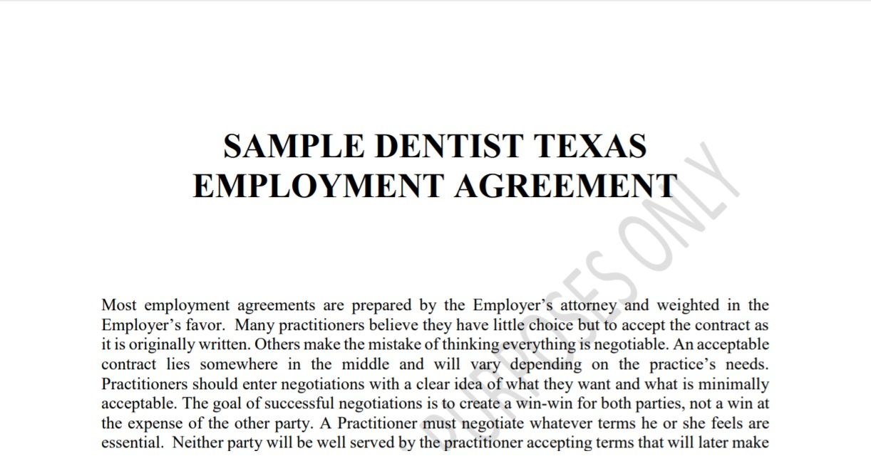 Sample Dentist Texas Employment Agreement \u2014 Concerned Dentists of Texas