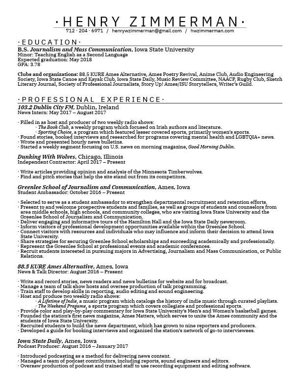 Resume/CV \u2014 Henry Zimmerman