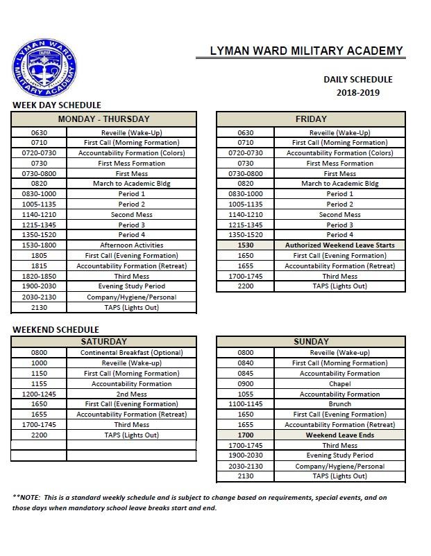 Sample Day Schedule \u2014 Lyman Ward Military Academy