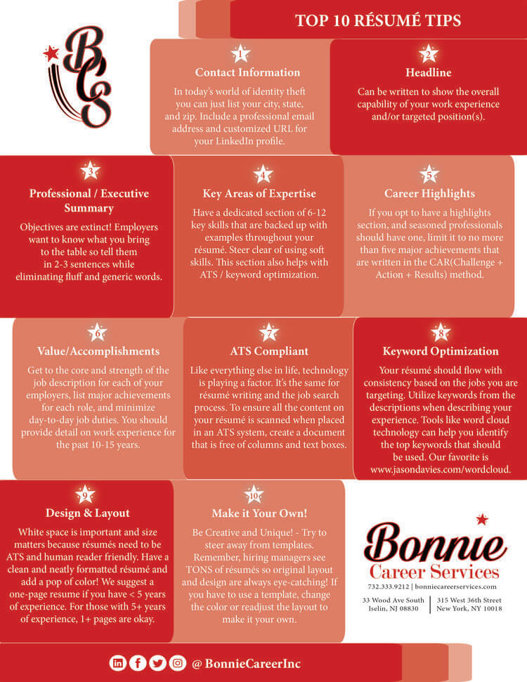 Top 10 Resume Tips \u2014 Bonnie Career Services, Inc - Certified Resume