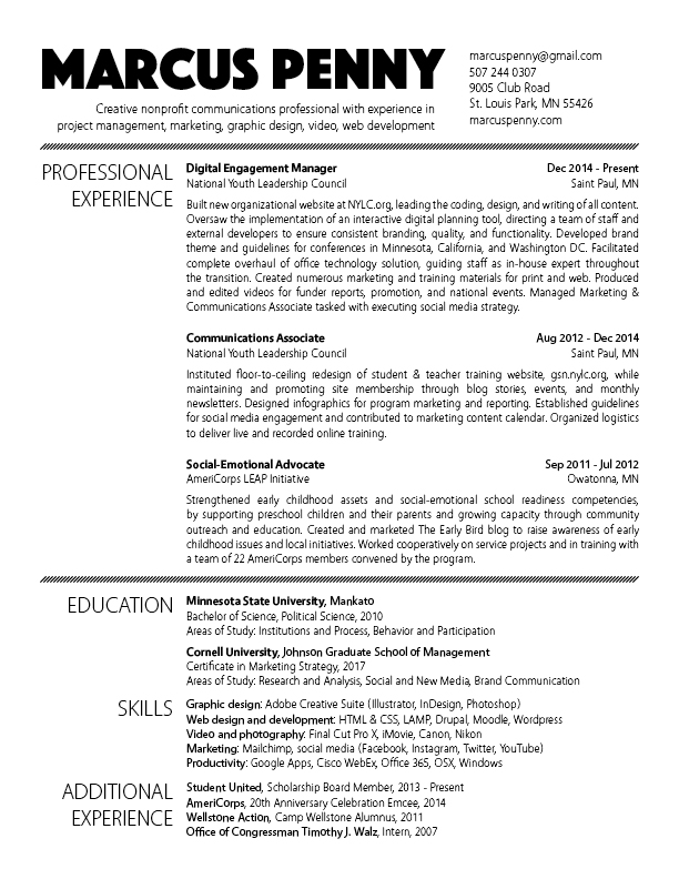 Résumé \u2014 Marcus Penny - community outreach resume