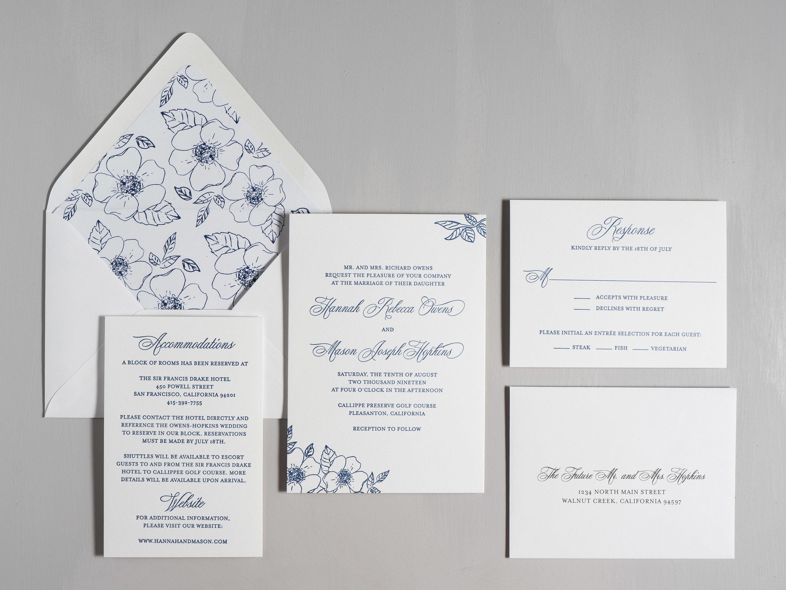 Elegant Anemone Letterpress Wedding Invitation \u2014 Just Jurf Designs