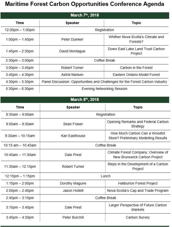 Schedule \u2014 Maritime Forest Carbon Opportunity Conference - conference agenda