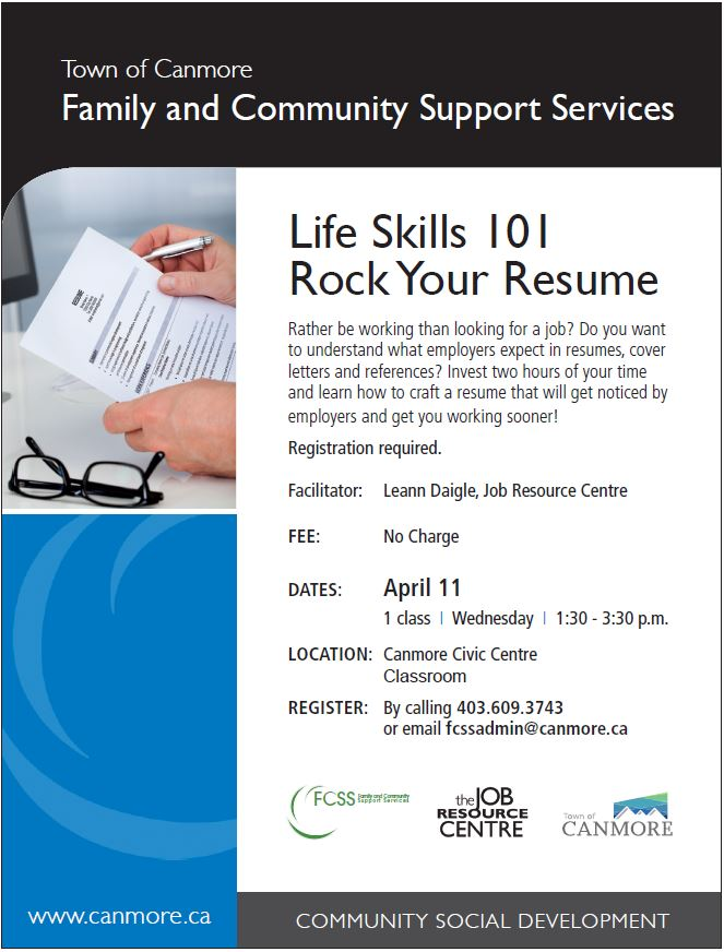 Rock Your Resume! Sign up at the Canmore Civic Centre today \u2014 Job