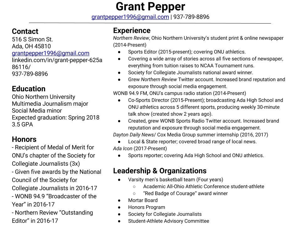 Resume \u2014 Grant Pepper, journalist