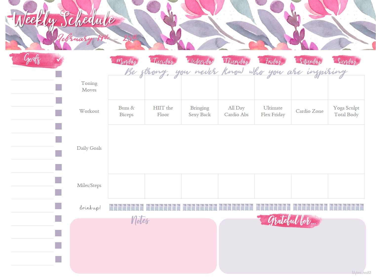 Weekly Printable - Workout and Daily Goals Tracker \u2014 thewildmoonlife