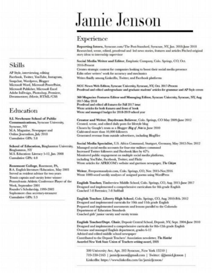 Resume \u2014 Jamie Jenson