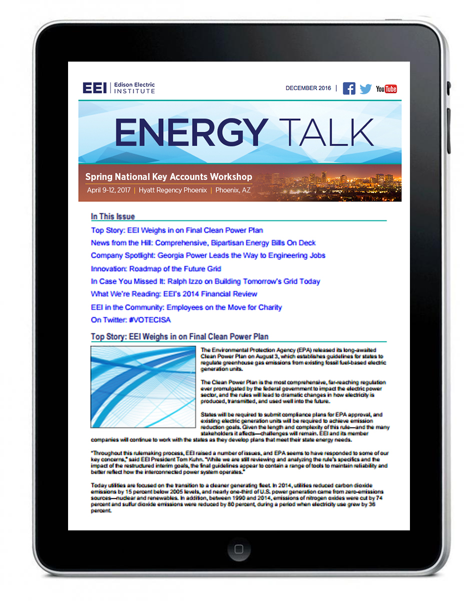 Energy E Energy Talk E Newsletter Electric Perspectives Media Kit