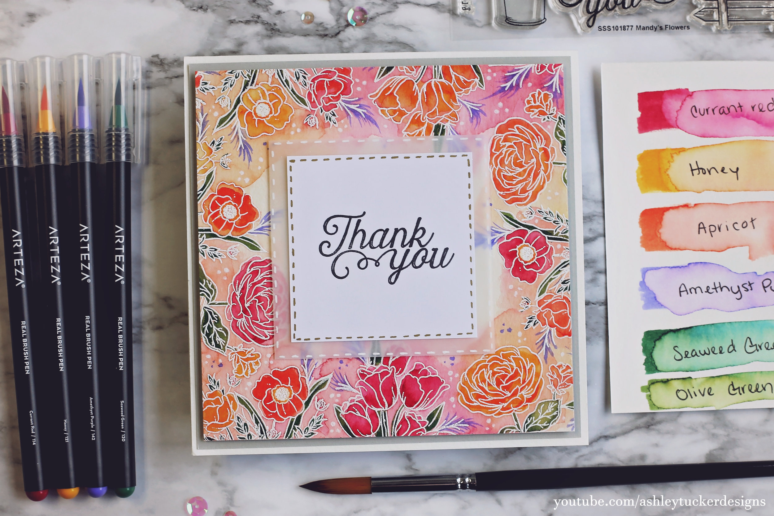 Arteza Address Floral Watercolor Thank You Card Simon S August Card Kit
