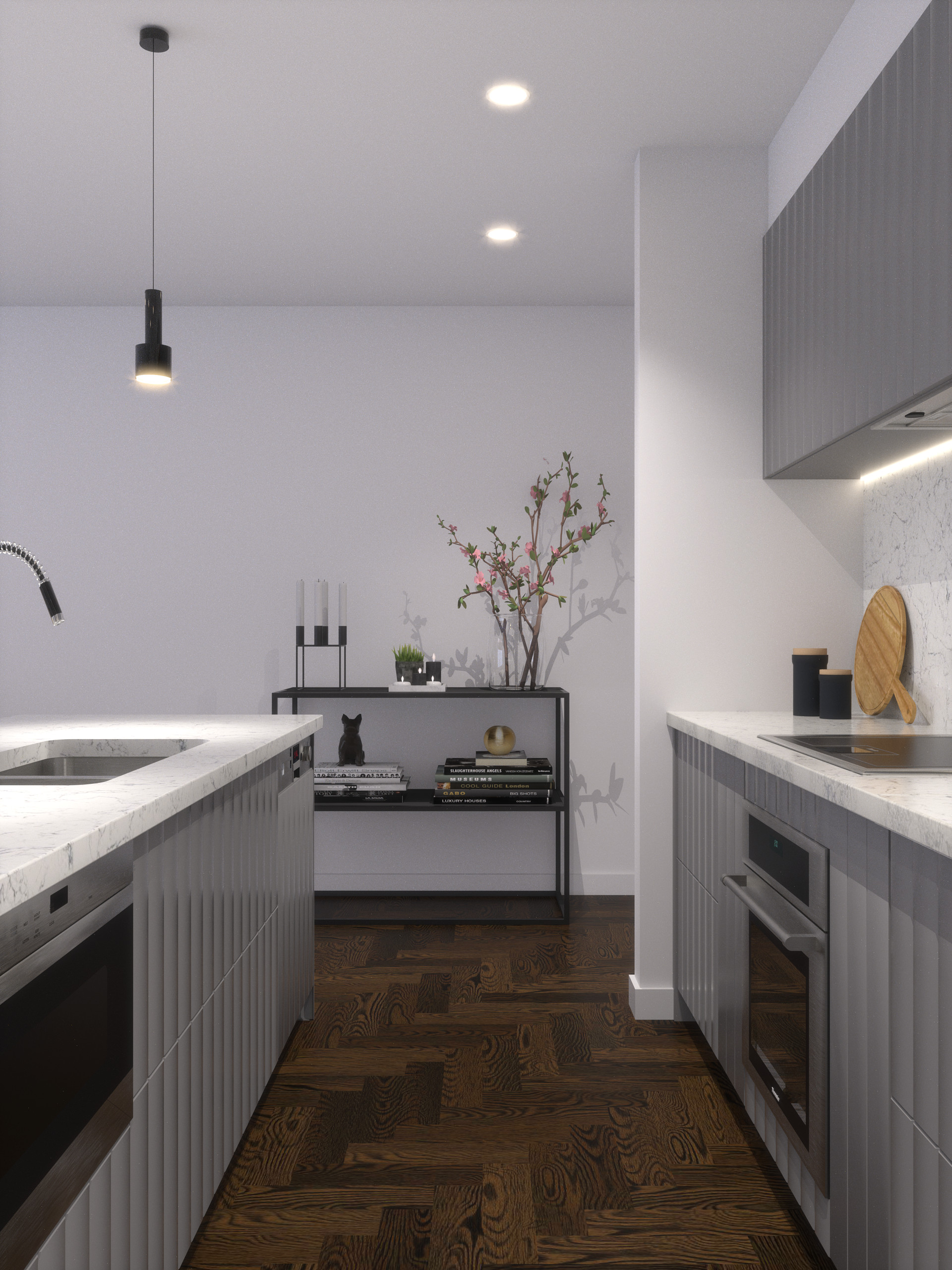 Grey Benchtop Kitchen Grey Panel Kitchen Cabinet Story Interior Designer Melbourne