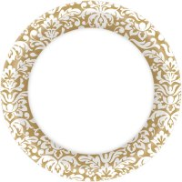 Gold Damask Dinner Plates (40ct) - Ziggos.com