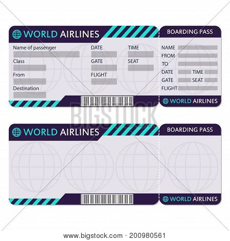 Airline Plane Ticket Vector  Photo (Free Trial) Bigstock - airplane ticket template