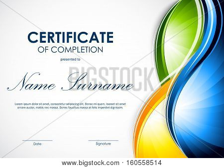 Certificate Completion Template Vector  Photo Bigstock - certificate of completion sample