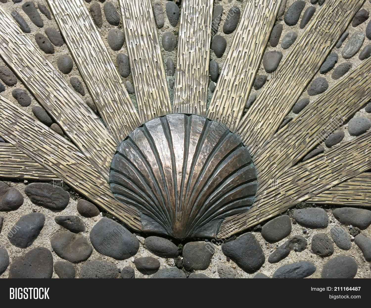 Camino Santiago Shell Scallop Shell Embedded Image Photo Free Trial Bigstock