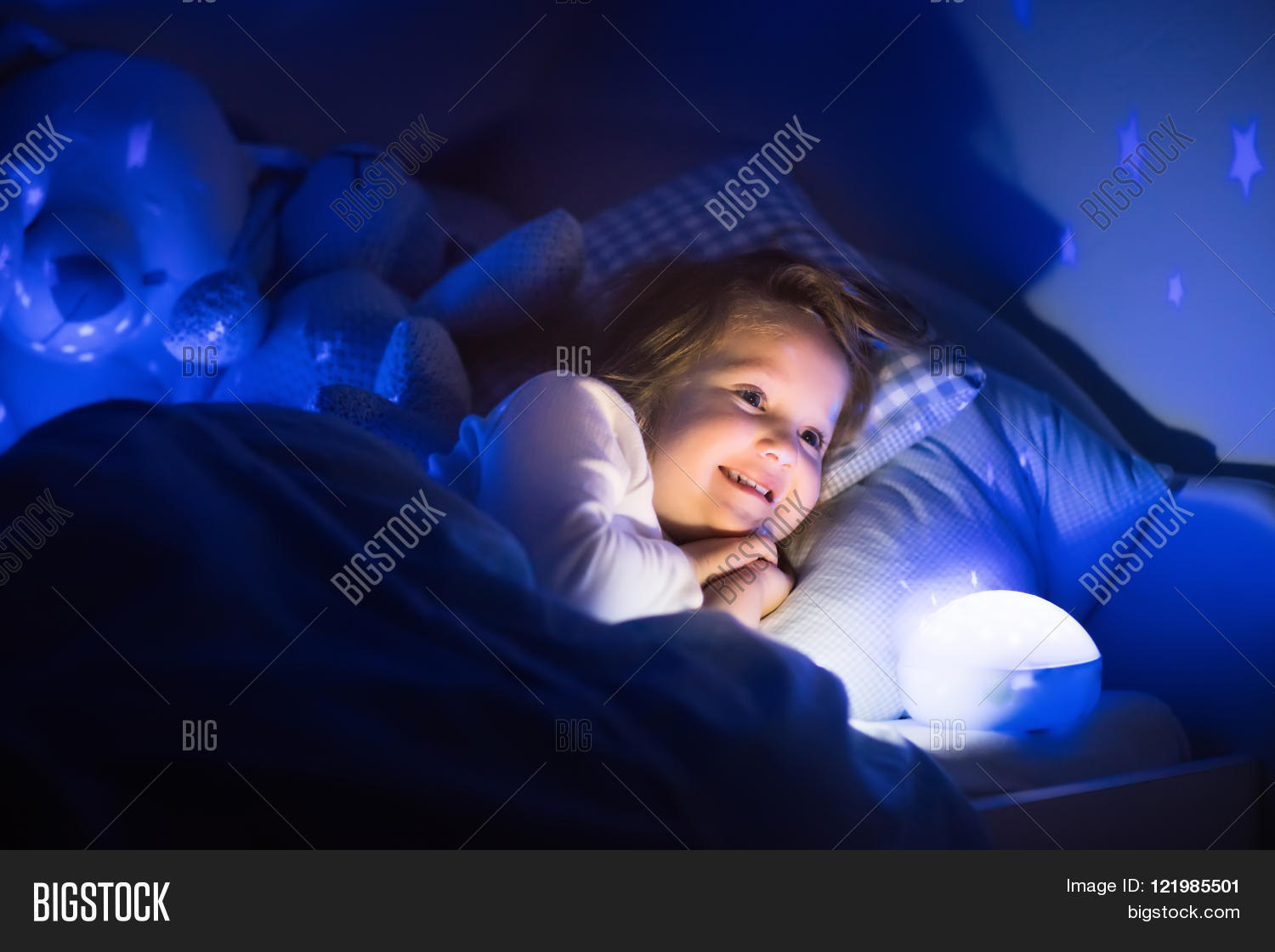 Girl Night Lights Little Girl Reading Image Photo Free Trial Bigstock
